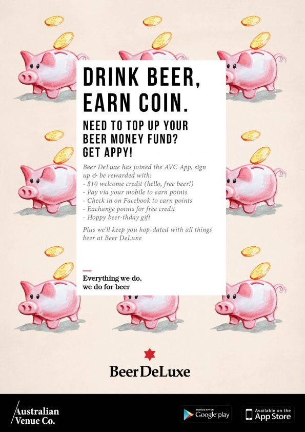 Drink beer, Earn coin - AVC app - Beer Deluxe T2 Sydney